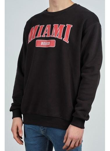 XHAN Siyah Miami Baskılı Sweatshirt 1Kxe8-44269-02 Siyah
